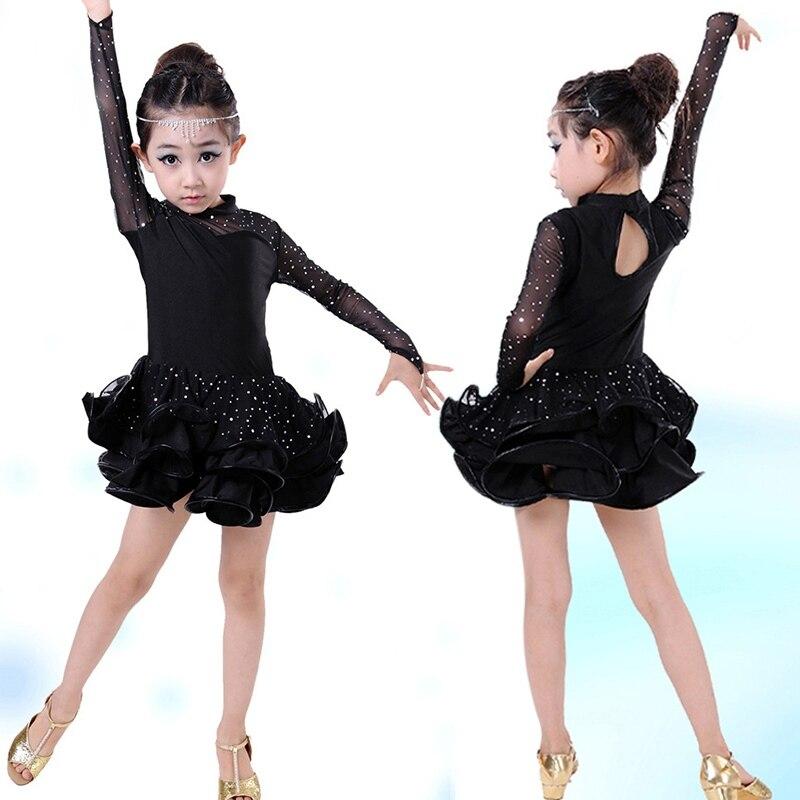 Elegant Sequin Vestido Kids Latin Dresses Children Latin Dance Dress Long Sleeve Lace Girls Stage Performance Dancing Dress