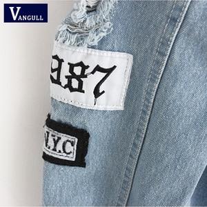 Image 5 - Women Frayed Denim Bomber Jacket Appliques Print Where Is My Mind Lady Vintage Elegant Outwear Autumn Fashion Coat Vangull 2018