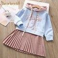 Oso líder niñas vestido de nueva marca bebé niñas blusa Orejas de conejo con capucha Vestido de manga larga ropa de niños vestido de las Niñas Ropa