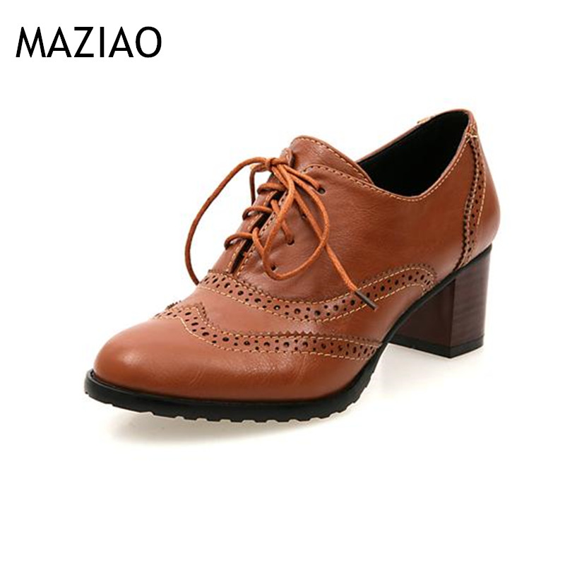 MAZIAO 2017 Pumps Shoes Woman Oxfords Vintage Square Toe Cut-Out Women High Heels Shoes Ladies Size Plus 34-43