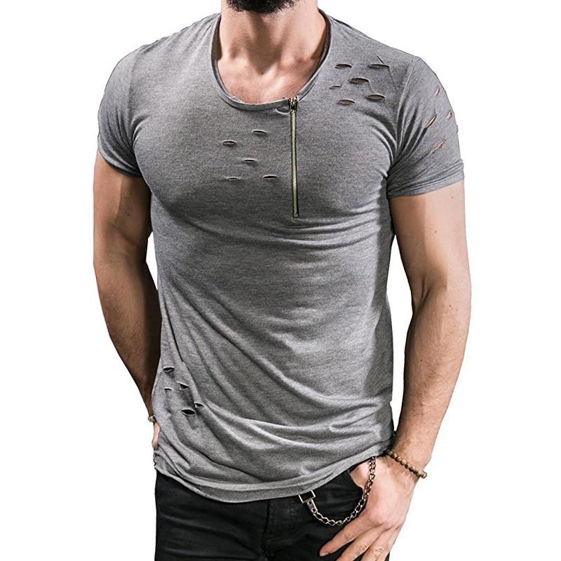 Uwback 2018 New Summer   T     Shirt   Men Plus Size 3XL Ripped Hole   T  -  shirts   Men Zipper Breathable Casual Tees Men's   T     Shirt   CAA515