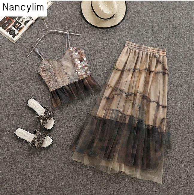 Nouvelle jupe de gaze d'été définit deux pièces costume femmes mode sans manches fronde chemise + jupes longues filles dame vacances robe costume