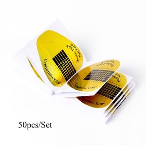 Image 5 - STZ 50 יח\סט מקצועי צורת אמנות צרפתית טיפים עובש UV ג ל ליטוש הארכת מדריך מדבקת כלי מניקור אבזר NJ071