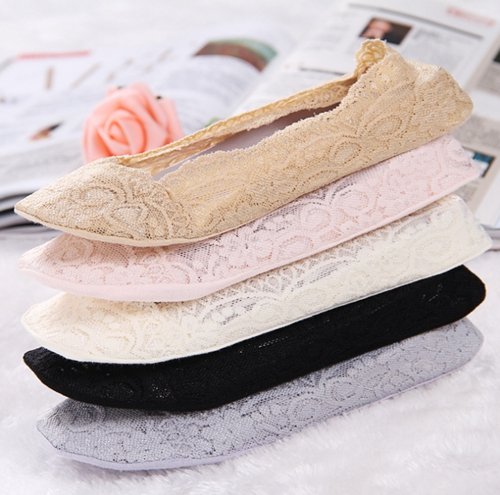 3pairs Womens Cotton Lace Antiskid Invisible Liner Socks Elastic Comfy Female Summer Spring Ankle Boat Low Cut Short Socks