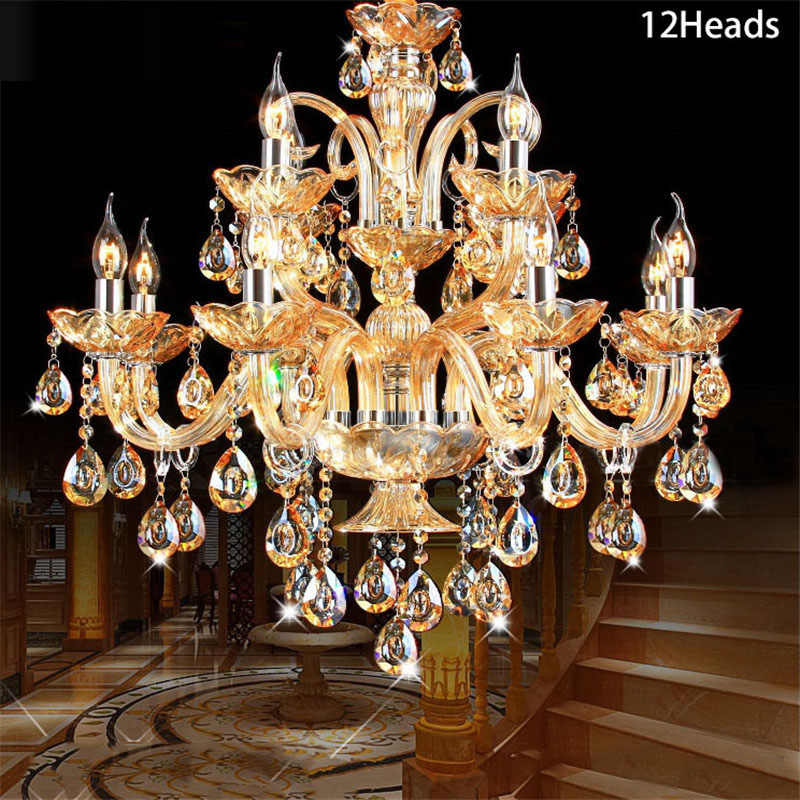 Luxury Crystal Chandelier Decoration Tiffany Pendants and Chandeliers Lighting Indoor Lamp for Foyer Stair Staircase Bedroom