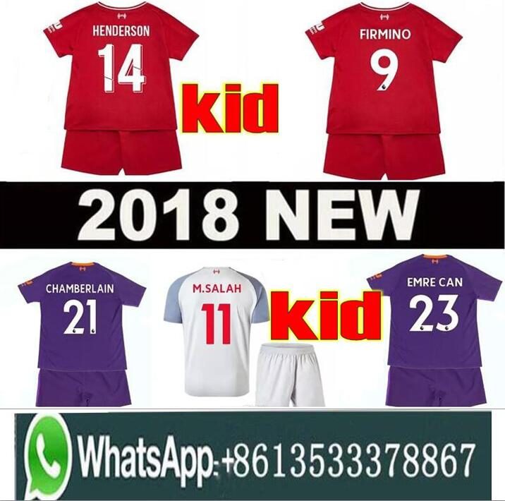 2019 SALAH Child kids kit  sets soccer jersey  football shirt mohamed salah jersey liverpool 18 19 FIRMINO HENDERSON MANE unifor(China)