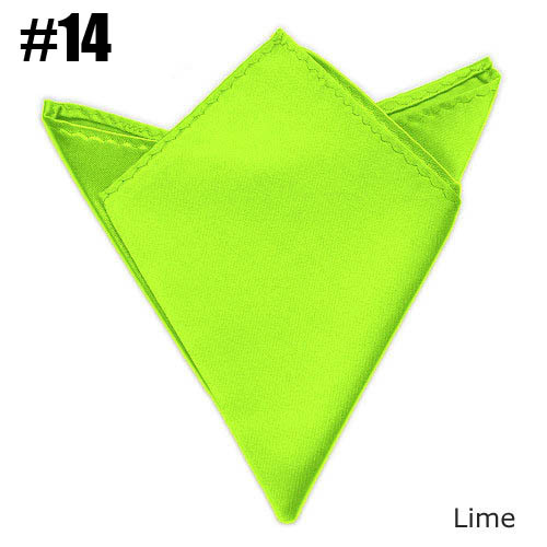 Solid Pocket Square Lime Wedding Satin Match Suit Free Shipping 24 Colors For Choose
