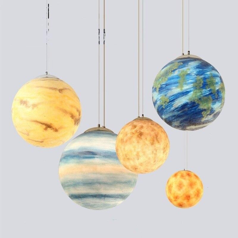 LED moderne planètes pendentif lumière décor à la maison salon Hanglamp Mars Jupiter saturne Uranus soleil mercure Neptune terre lune lampe