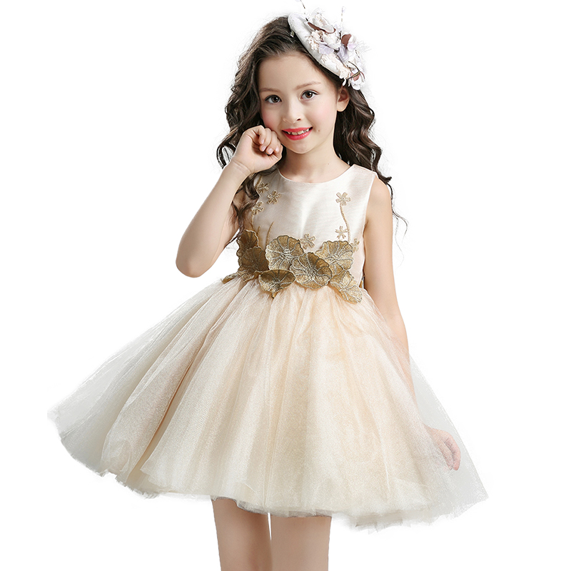 2017 Kids Girls Flower Dress Children Girl Sleeveless Lotus leaf Party Dress Baby Fancy Princess Bow Clothes champagne original xk k124 bnf without tranmitter ec145 6ch brushless motor 3d 6g system rc helicopter compatible with futaba s fhss