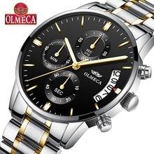 OLMECA Men Watches Luxury  Men's Fashion Stainless Steel Watch Military Waterproof Quartz Wristwatches Saat Relogio Masculino