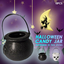 10 шт./лот, карамельный горшок для Хэллоуина, котел для Хэллоуина, новинка, ведро для Хэллоуина, украшение, Череп, ведьма, игрушка