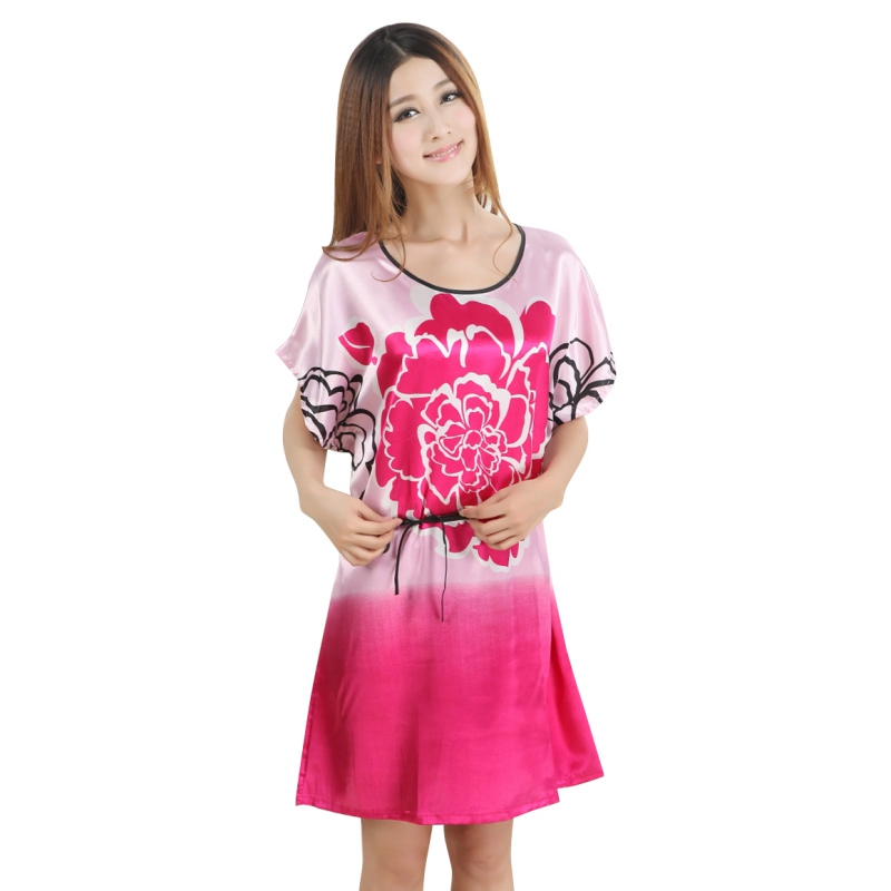 Floral Imitated Silk Dress Sleepwear Robes Sashes Night Dress Sleep ...