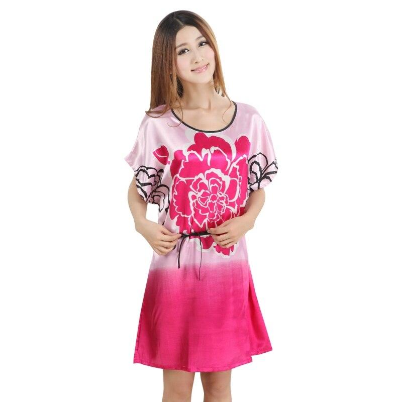 Floral Imitated Silk Dress Sleepwear Robes Sashes Night Dress Sleep Wear Lingerie Shorts   Sleepshirt   Clothing Women