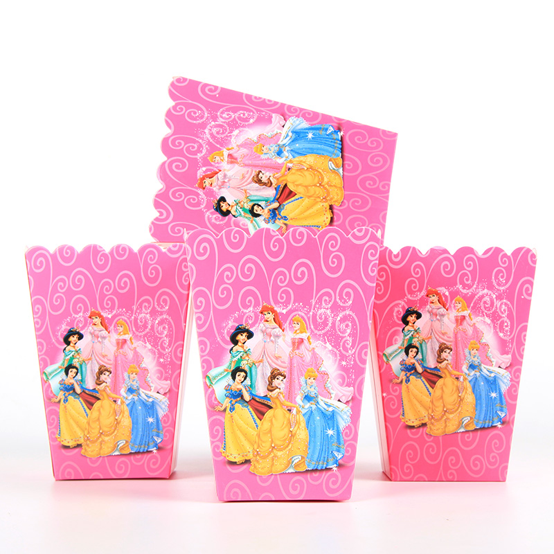 6pcs/lot Disney Princess Candy Popcorn Boxes For Wedding Party Supply Party Popcorn Bags Kids Favors Disposable Package