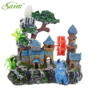 Image 1 - Kreatywny zamek dekoracja akwarium żywica widok górski akwarium ozdoby Waterwheel kamień napowietrzający zielone drzewo akcesoria do akwarium