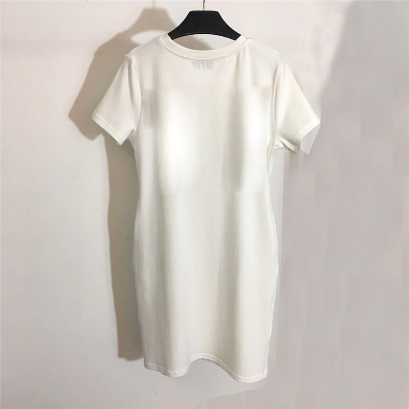 Robes Dames No Courtes Lâche Femmes Nouvelle Qualité T Haute Chemises O Occasionnel Coton 2019 2 1 shirt À 100 no Robe Manches cou 4HUtUg