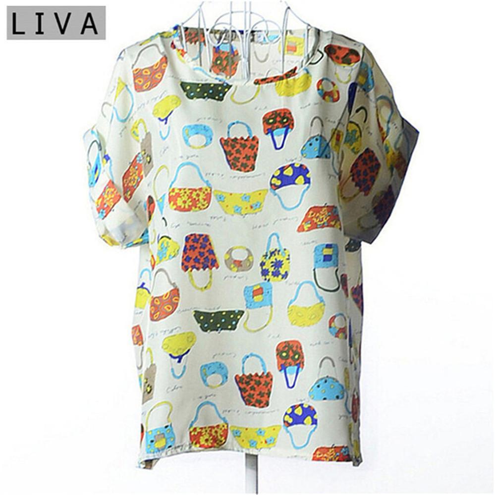 Summer Vintage Wheels Blusas Femininas Womens O-Neck Front Up Short Sleeve Blouse Sexy Multicolor Chiffon Shirt Tops Plus Size (32)
