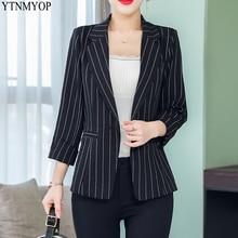 YTNMYOP Женский блейзер тонкий модный летний костюм пальто Верхняя одежда три четверти одна кнопка полосатый пиджаки Топы
