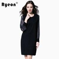 Ryeon שחור נשים שמלת חורף סתיו גודל גדול Mesh כסף ארוך שרוול מוצק O צוואר שמלה מזדמן בציר מזדמן 5xl 4xl Xxxl Xxl