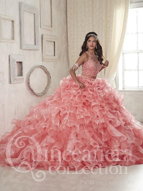 2016 Duas Peças Coral Vestidos Quinceanera vestido de Baile Organza Frisada de Cristal Ruffles Doce 16 Vestidos vestidos De 15 Años