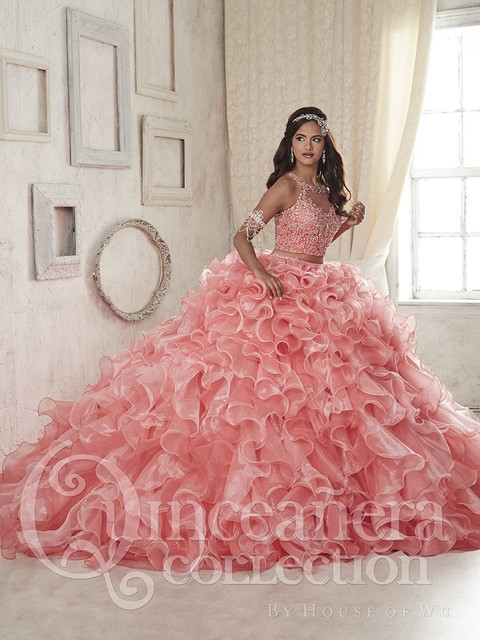 c8b571852 2016 Two Pieces Coral Quinceanera Dresses Ball Gown Organza Beaded Crystal Ruffles  Sweet 16 Dresses Vestidos