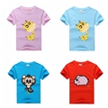 Retail Brand 2016 Children's Blouse T-shirt Kids Baby Boys&Girls tshirts Summer Clothes Cartoon Pig Monkey Giraffe Cotton Tops