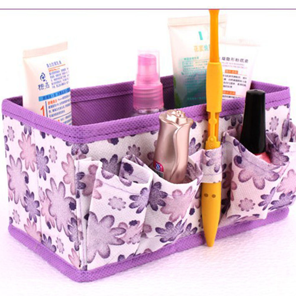 Fashion Foldable Multifunction Makeup Cosmetics Storage Box Container Bag Dresser Desktop Cosmetic Organizer