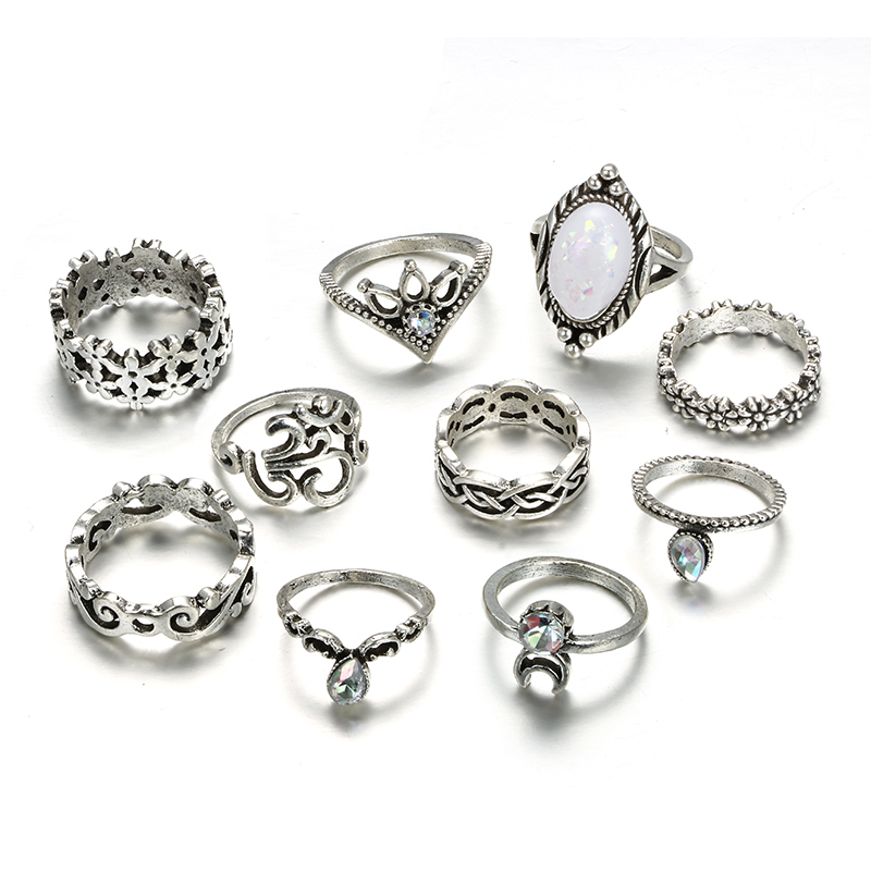 HuaTang Bohemian Antique Silver Ring Geometric Elephant Flower Green Rhinestone Knuckle Rings Midi Finger Anel Rings Jewelry 105