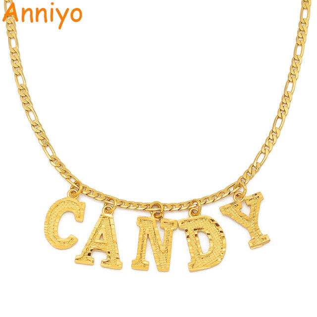 Anniyo (hasta 5 letras) personaliza los collares con colgante mayúsculas, nombre personalizado, joyería de Color dorado para mujeres y niñas #211406