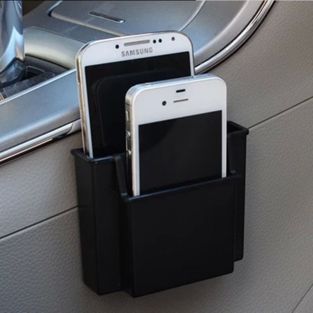 Multifunksjonell Mini Car Cell Phone Holder Svart Mobiltelefon Charge Box Holder Pocket Organizer Bil Seat Bag Storage