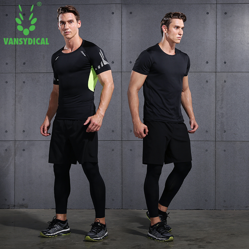 2017 Vansydical Mens Sport Running Suits Quick Dry Basketball Jersey soccer Training Tracksuits jersey Men Gym Clothing Sets