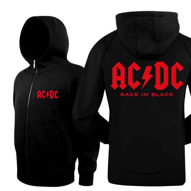 New 2016 Warm Winter Bomber Jacket Coat Cotton Active Skateboard Hip Hop ACDC Rock Band Slim Mens Hoodies And Black Sweatshirts