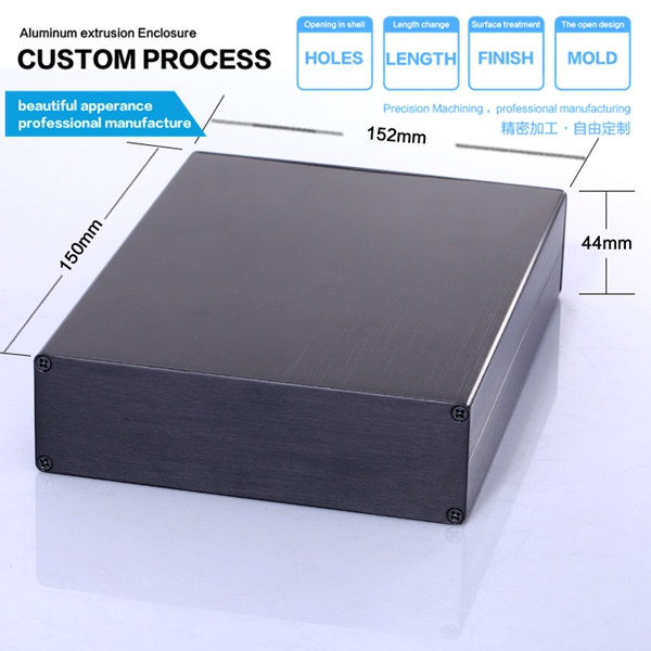 152*44*130 mm (wxhxl)  enclosure electronic diy case enclosure 152 44 130 mm wxhxl aluminum extruded electronic housing box as per customer s drawing