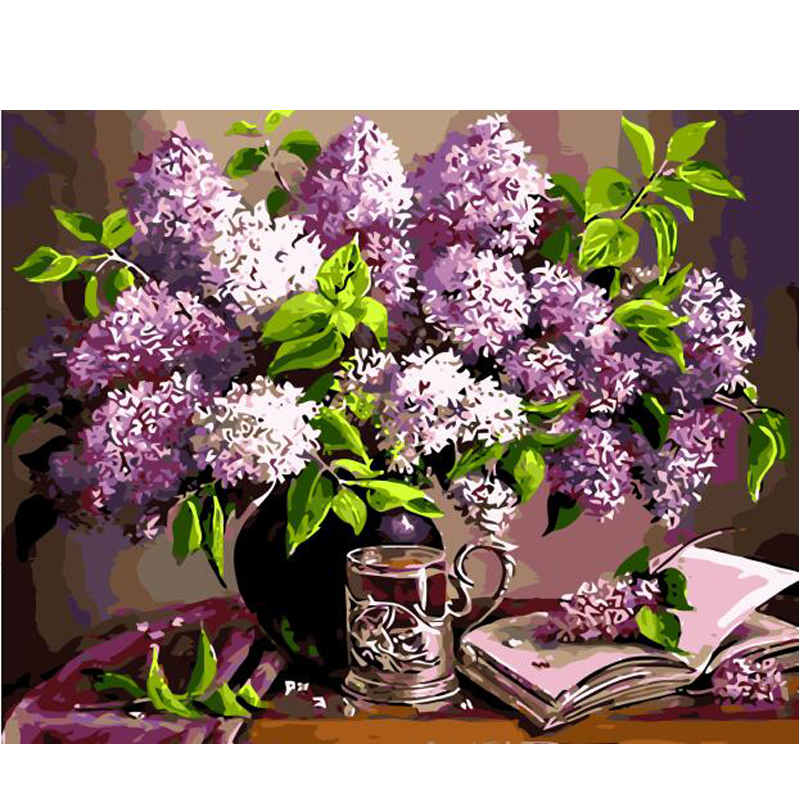 Buy diy oil painting paint by number for Diy flower canvas wall art