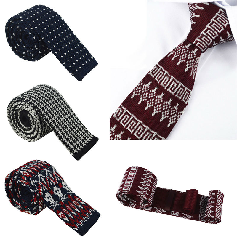 New Arrive Mens Knitting polyester woven ties Classic Neckties Fashion Plaid Mans Tie for wedding