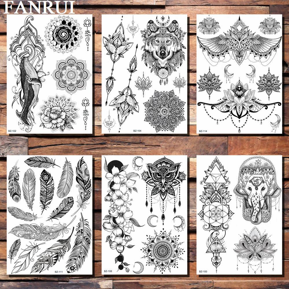 Buho Tatuaje Mandala €0.96 26% de descuento fanrui mandala flor de loto lobo búho cadenas lily  tatuaje temporal pegatina negro henna tatuaje falso corporal mehndi arte