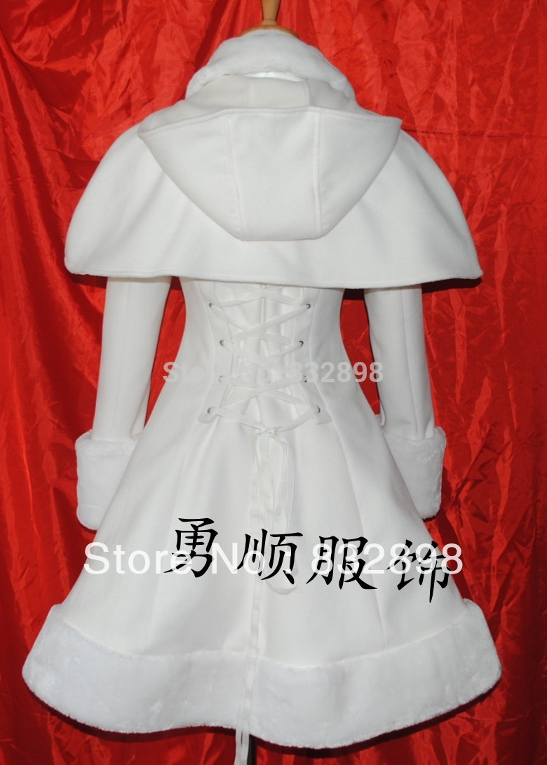 Blanc Manteaux Manteau Chapeauamp; Princesse D'hiver Filles Lolita Laine Marque Et Cappa Long DeWHE29IY