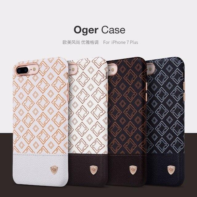 Oger nillkin pu leather case capa voltar para o iphone 7 plus (5.5 polegada) Vintage lether + PC caso de trabalho com suporte para carro magnético