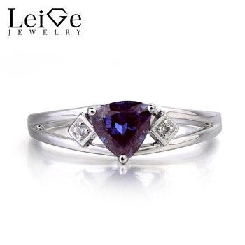 Joyería de Lieja, anillo de boda, anillo de Alejandrita, piedra natal de junio, gemas que cambian de Color, anillo de Plata de Ley 925 con piedra preciosa de corte trillion