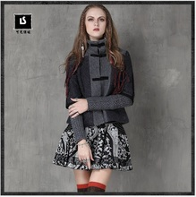 Women Jacket 2017 Keer Winter Vintage Wool Blends Coat Stand Collar Handmade Frog Knot Patchwork Coat B9561 Wool Feminino Casaco