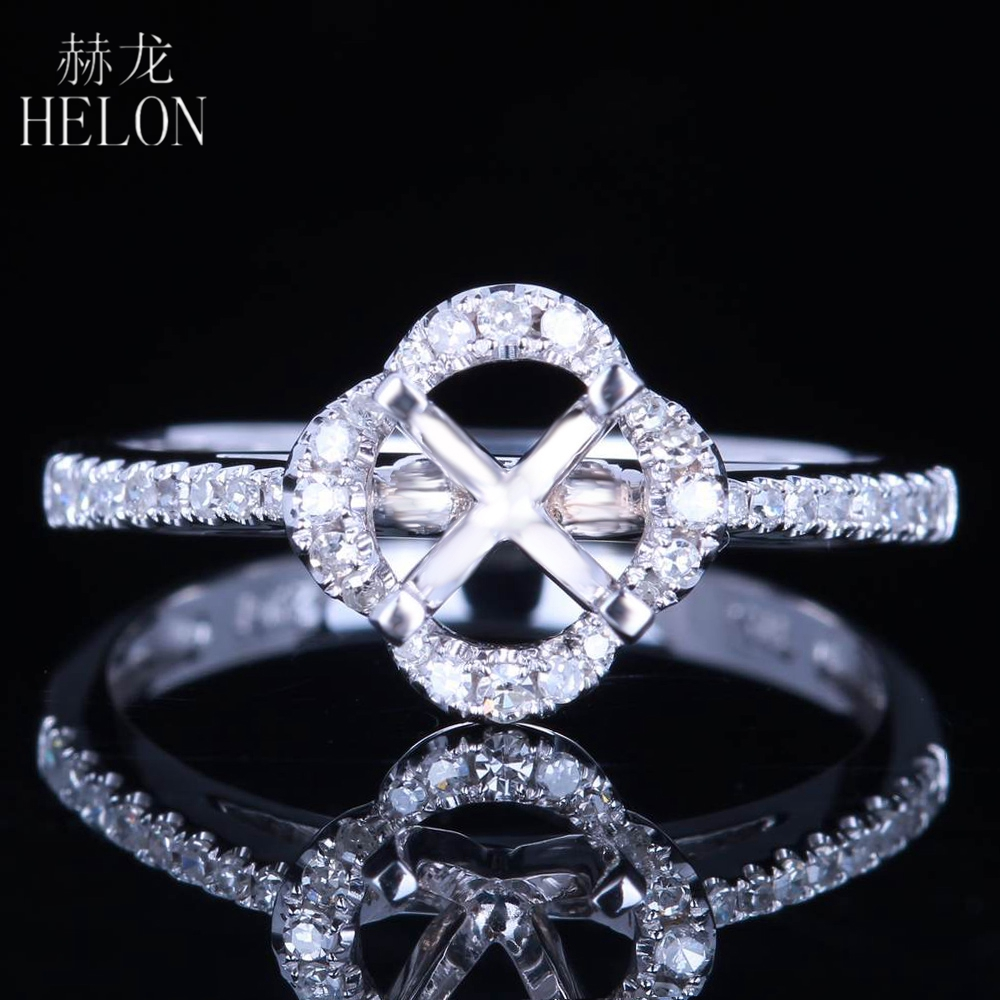 HELON Solid 14 К Белое золото Маунт Semi круглый 5,5-6 мм 0.3CT природные бриллианты кольцо настройки Обручение Свадебные кольцо Мода ювелирные изделия
