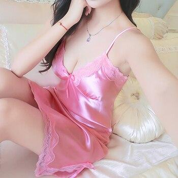 Sexy Lace Night Dress For Women V-Neck Sleepwear Skirt Silk Nightgown Sleeveless Nightdress Ladies Nightwear Summer Homewear #D 5