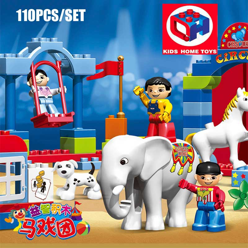 110PCS Large Size Circus Show Animal Paradise Elephant Tiger Horse Model Blocks Bricks Toy Kids Home Toys Compatible With Duplo kid s home toys large particles happy farm animals paradise model building blocks large size diy brick toy compatible with duplo