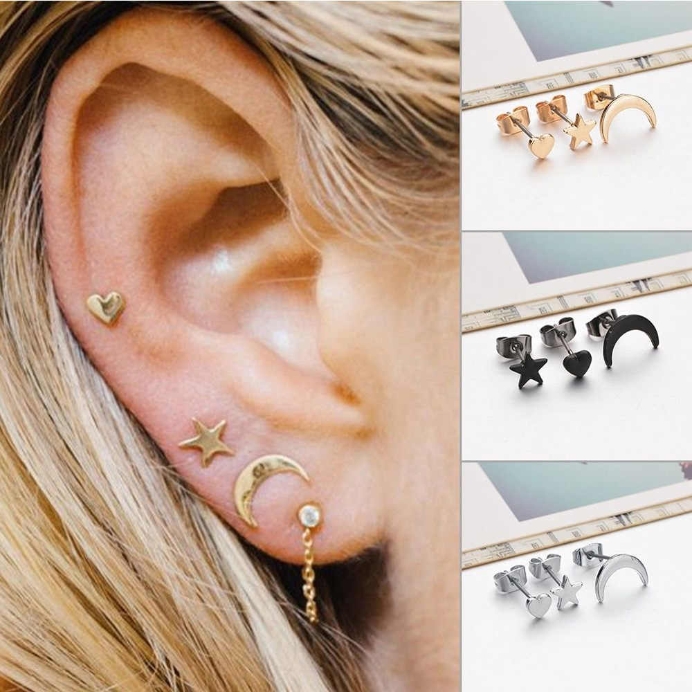 Trendy Star Moon Women's Metal Stud Earrings For Women Mix Jewelry Girl Gifts Classical Gold Stud Earring Sets Geometric