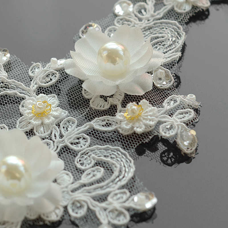 c1536e8c903ea 2Pcs 3D Beaded Lace Appliques Embroidered Sequins Flowers Lace Trims Fabric  Wedding Dress Bridal Veil DIY Sewing Clothes Crafts