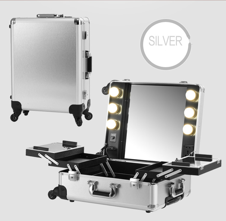 Silver Makeup Artist Train Box With Lights Station