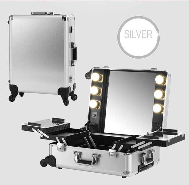 Silver Makeup Artist Train Box With Lights Station Portable Studio Wheeled  Case Aluminum Cosmetic Case With