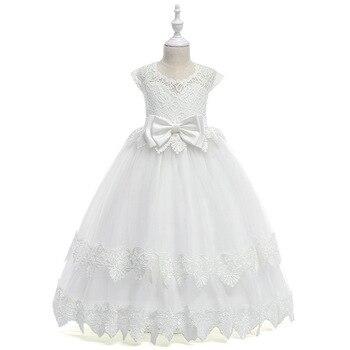 a66fe91b2 Vestidos largos de encaje de flores para niña 2019 apliques para niñas  vestidos de desfile vestido de primera comunión vestido de fiesta de boda  para niños