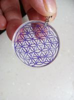 37mm Clear Natural Quartz Crystal Flower of Life Pendant Carved Healing