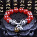 Natural crystal red agate handmade beaded bracelet korean designer tiibetan buddhist prayer beads two size for select